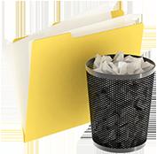 Folder next to bin