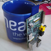 Rasberry Pi next to Meantime mug
