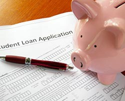 Application for a student loan with piggybank